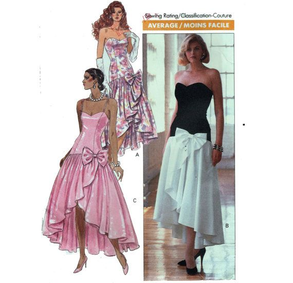 80s Prom Dress Sewing Pattern Strapless Gown by HoneymoonBus .