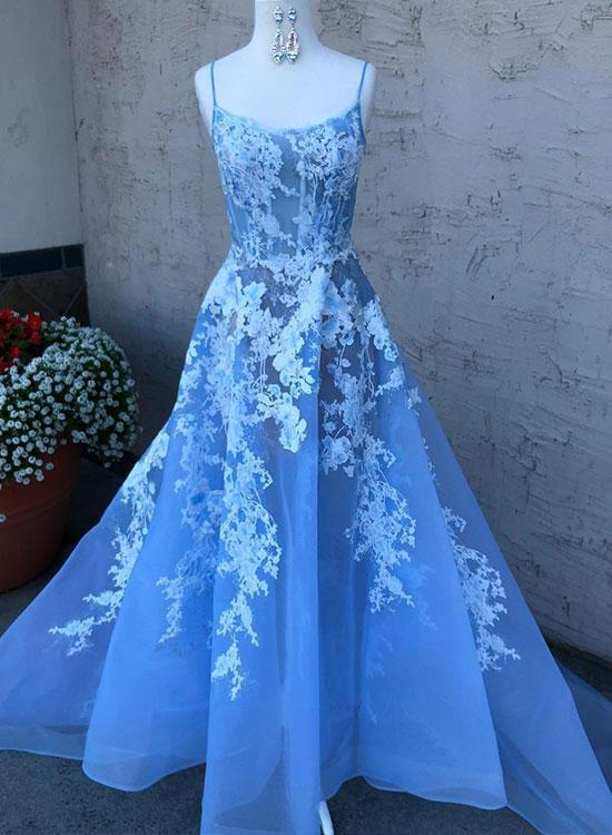 Tulle Blue Spaghetti Straps Lace Affordable Prom Dresses Long .