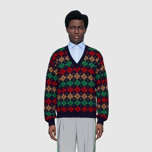 Dark Blue / Multicolor Alpaca Wool Argyle V-Neck Sweater   GUCCI®