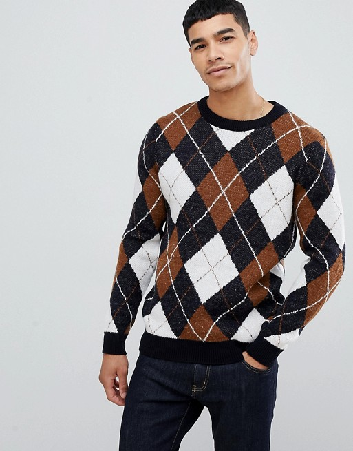 New Look argyle sweater with crew neck in navy   AS