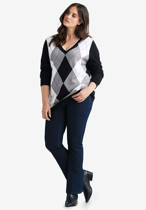 V-neck Argyle Sweater by ellos®  Plus Size Cardigans & Sweaters .