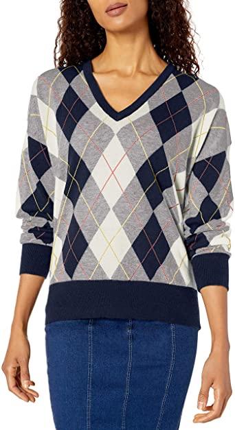 Lacoste Womens Long Sleeve Jersey Argyle Sweater at Amazon Women's .