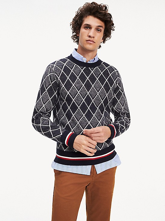 Tipped Argyle Sweater   Tommy Hilfig