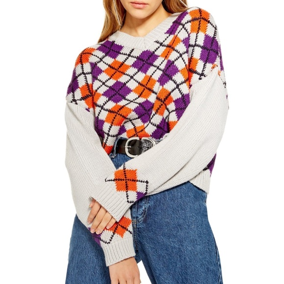 Topshop Sweaters   New With Tags Cropped Argyle Sweater   Poshma