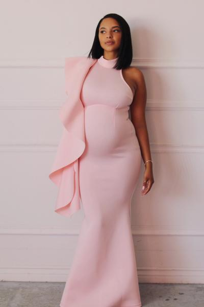 Luxury Maternity Gowns, pink baby shower dress, pregnant .