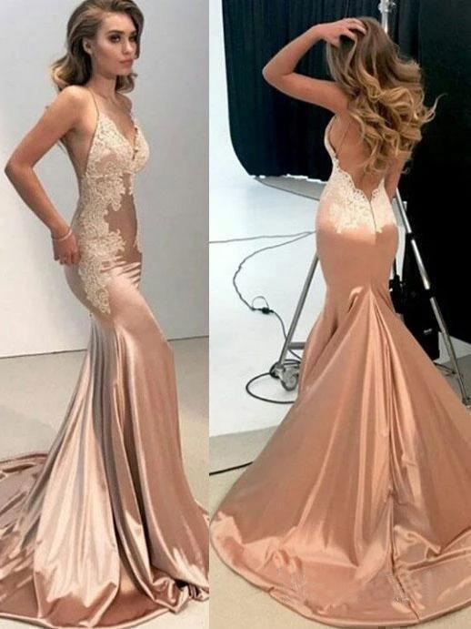 Buy Sexy Mermaid Backless Prom Dress Nude V Neck Long Lace .