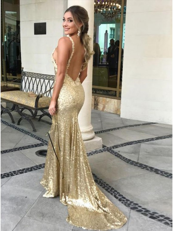 Buy Sexy Mermaid V-Neck Long Gold Backless Prom Dress with Lace .
