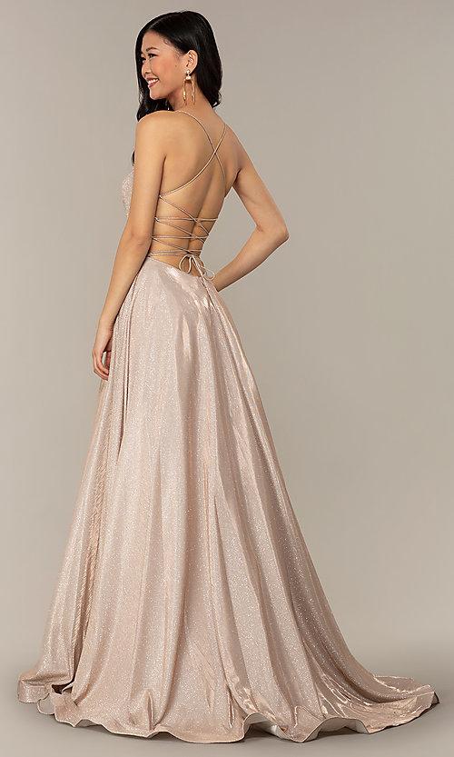 Long Glitter Corset Backless Prom Dress - PromGi
