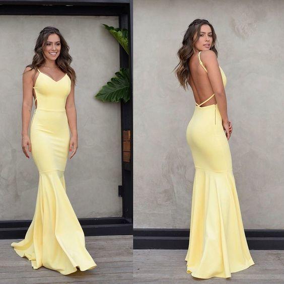 Charming Yellow Backless Prom Dress, Mermaid Spaghetti Straps .