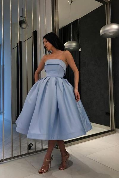 Strapless Blue Short Ball Gown Prom Wear Dresses – loveangeldre