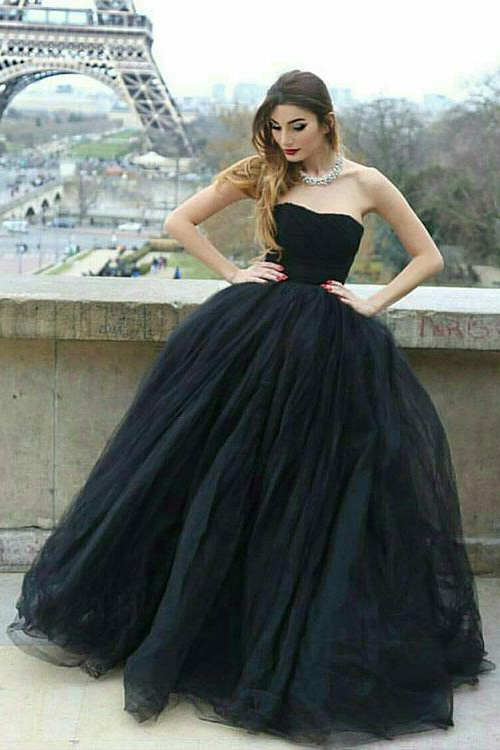 Stylish Prom Dress,Black Prom Dresses,Ball Gown Prom Dresses .