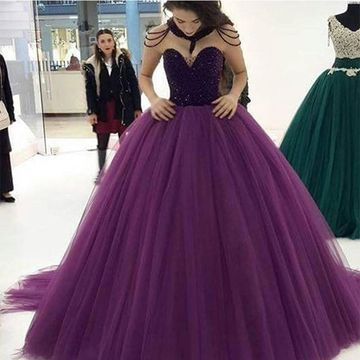 $163.99 Long Purple Ball Gown Sweetheart Sleeveless Zipper Beading .