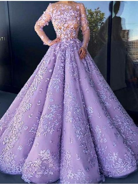 Ball Gown Prom Dress Long Sleeve Lilac Prom Dresses Party Evening .