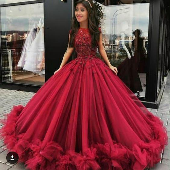 2018 Chic Ball Gowns Prom Dresses Scoop Burgundy Long Prom Dress .