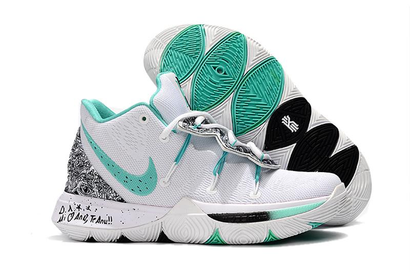 Men's Nike Kyrie 5 PE White/Mint Green-Black Male Basketball Shoes .