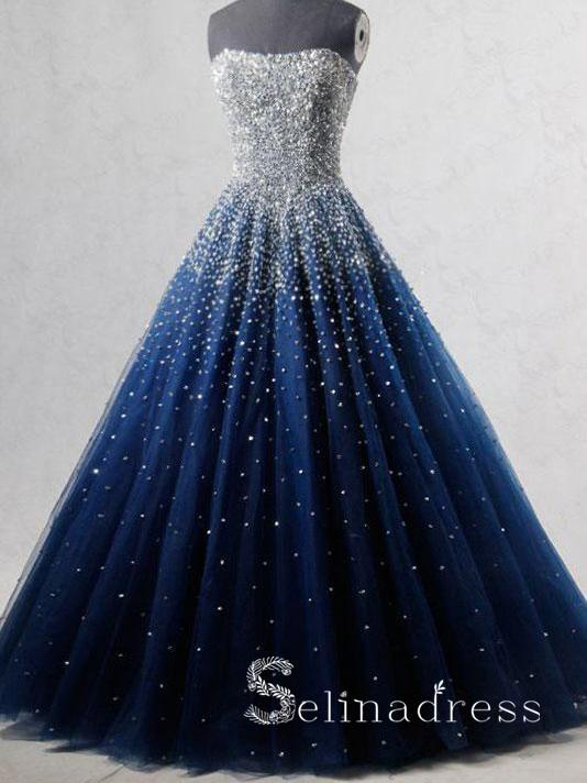 Sparkly Prom Dresses A-line Strapless Dark Navy Rhinestone Long .