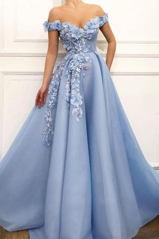Blue Off Shoulder Flower Appliques A-line Long Modest Beautiful .