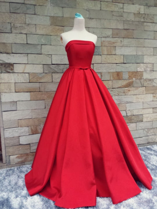 Beautiful Handmade Red Prom Gown , Red Prom Dresses, Prom Dresses .
