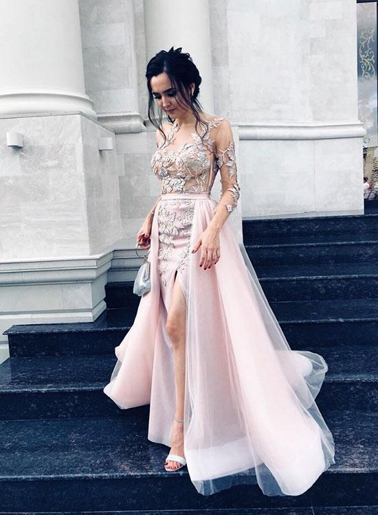 Pink Tulle Long Sleeves Elegant Lace Best Prom Dresses Appliques .