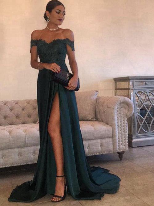 Elegant Off the Shoulder Best Prom Dresses Dark Green Side Slit .