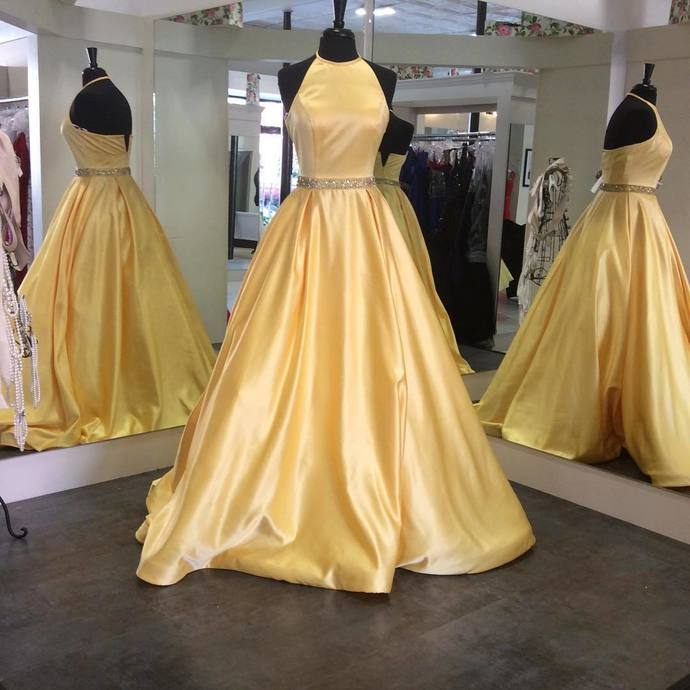 Stain Halter Gold Yellow Long Prom Dresses With Beads Best Prom .