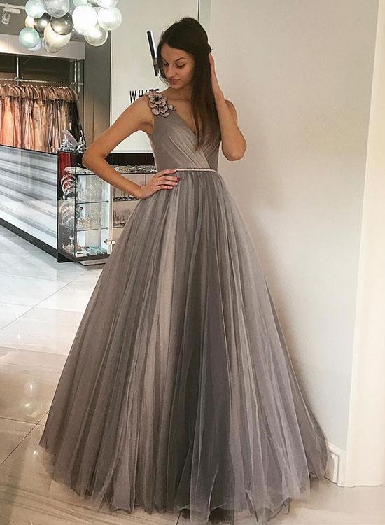 Elegant Grey V Neck Tulle Long Best Prom Dresses Floor Length .