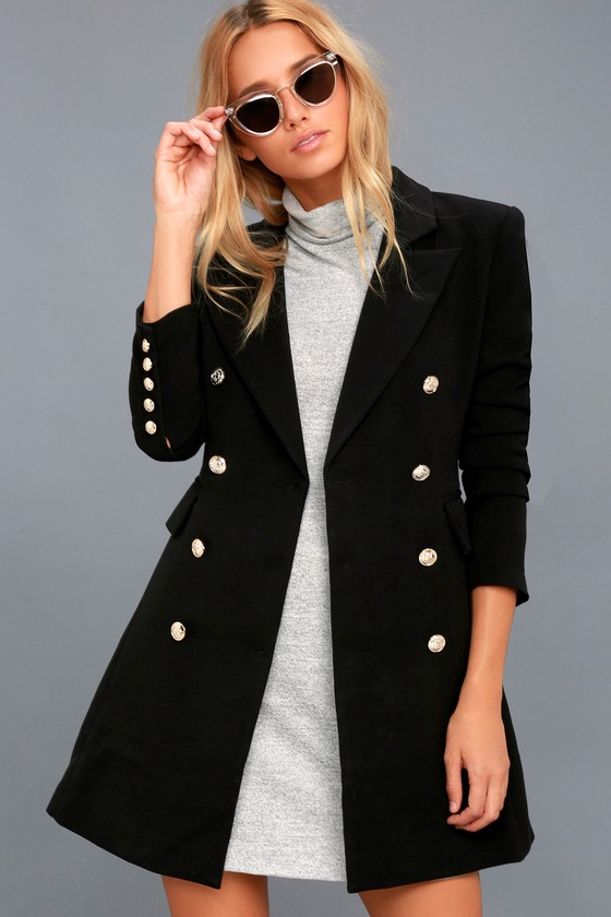Chic Black Coat - Double-Breasted Coat - Military Co