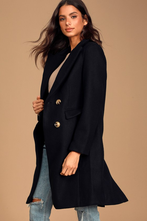 Classic Black Double Breasted Coat - Long Overcoat - Vegan Wo