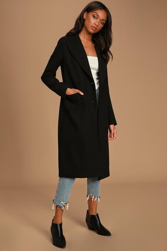 Avec Les Filles Black Coat - Long Peacoat - Wool Blend Co