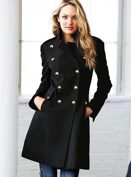 Fleece Clothing Wool Coat Women Long Design Black Coat Slim Stand .