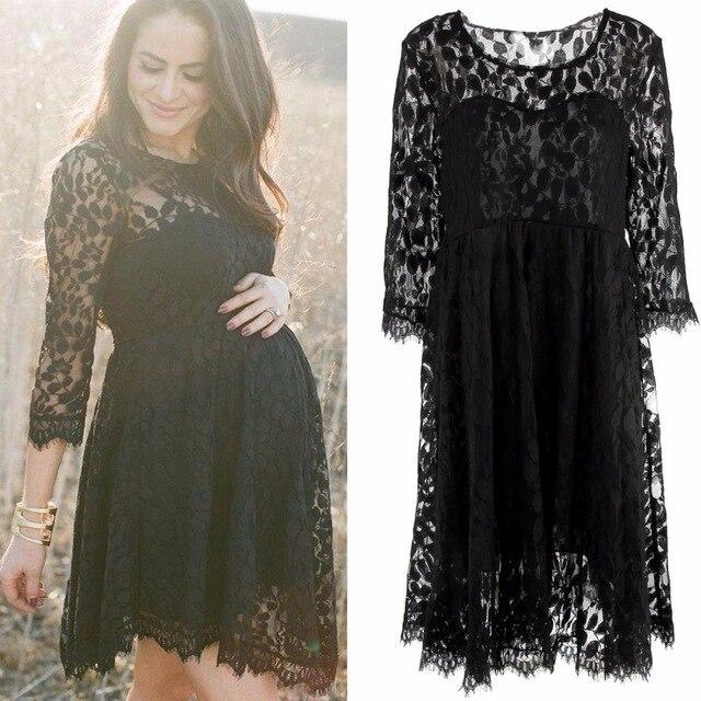 Puseky Black Lace Maternity Dresses Long Sleeve Pregnancy Dresses .