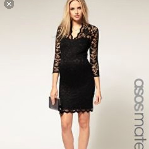 ASOS Maternity Dresses   Asos Little Black Lace Maternity Dress .