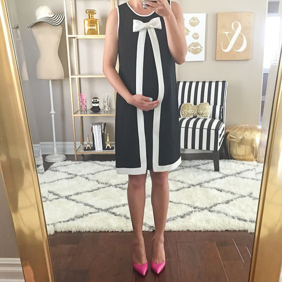 neck bow tie black and white maternity dress   Black and white .