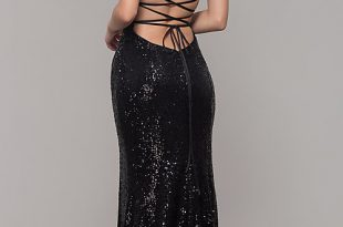 Sparkly Sequin V-Neck Long Formal Prom Dress -PromGi