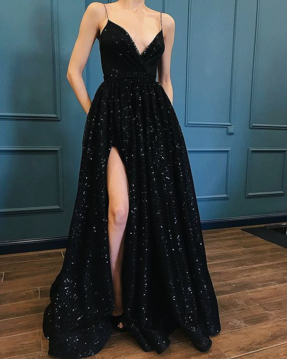 Sexy Spaghetti Straps Black Prom Dress, | fancygirldre