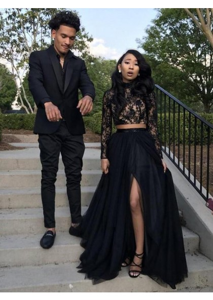 Black Long Sleeves Side Slit Two Pieces Beaded Lace Prom Dresses 20