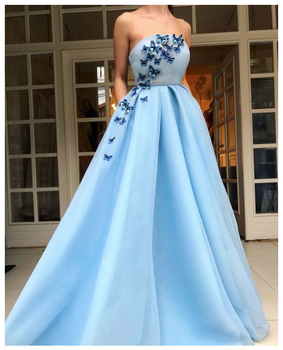 Long Evening Dress,Party Dress With Applique ,Light Blue Prom .