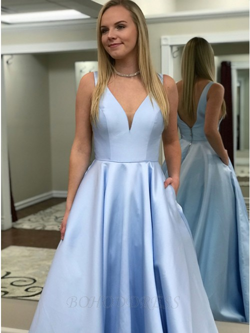 A-Line V-Neck Backless Sweep Train Light Blue Prom Dress with .