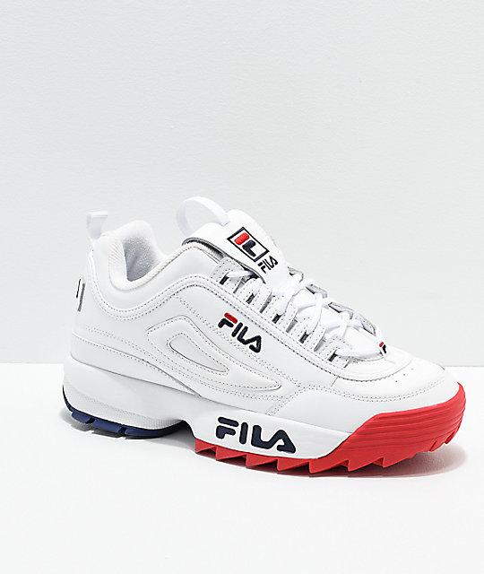 FILA Disruptor II Premium White, Red & Blue Shoes | Zumi