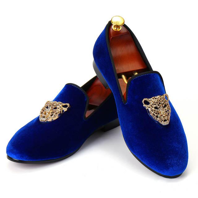 Animal Buckle Men Classic Wedding Shoes Blue Velvet Loafers .