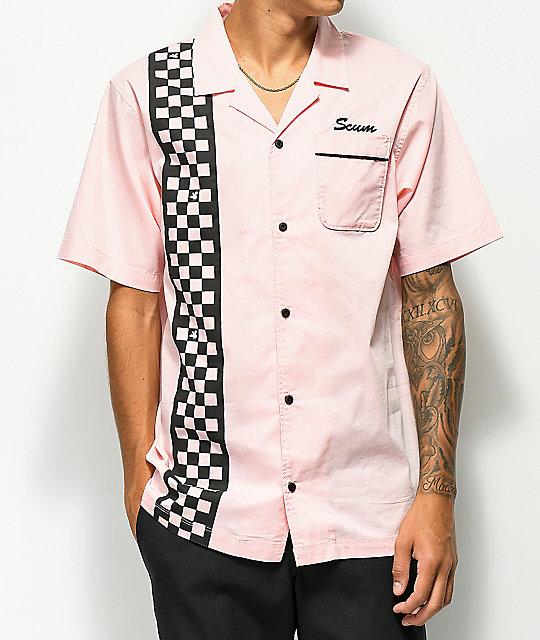Scum Pink Checkered Short Sleeve Bowling Shirt | Zumi