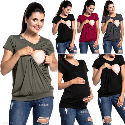Women Maternity Clothes Blouse T-Shirt Breastfeeding Tops .