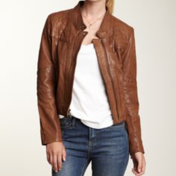 Cole Haan Jackets & Coats | Womens Camel Brown Leather Jacket .