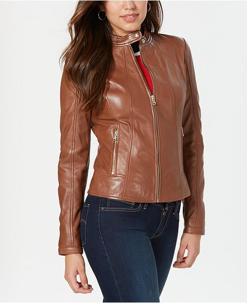 GUESS Leather Jacket with Snap Collar & Reviews - Coats - Wom