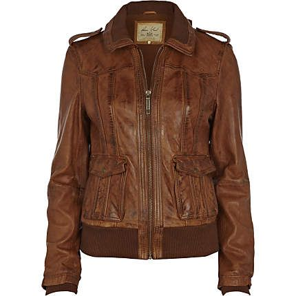 brown bomber jacket - leather / non-leather jackets - coats .