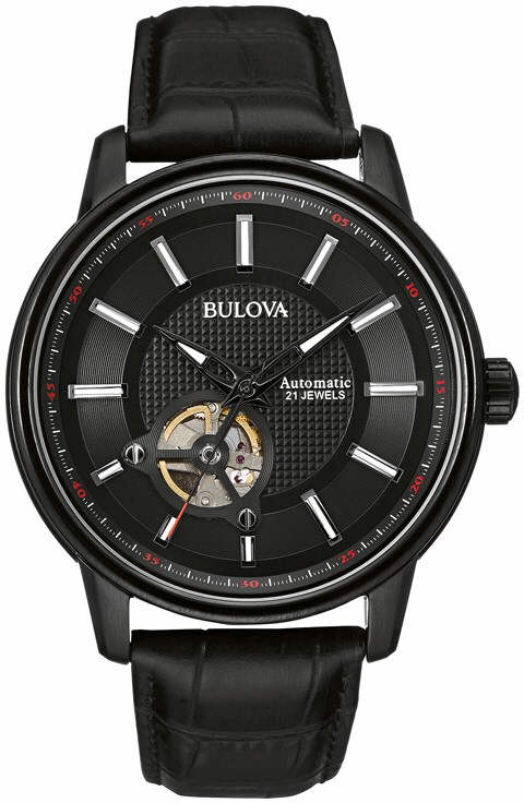 Men's Bulova Automatic Black Leather Watch 98A1