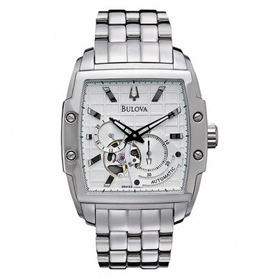 Men's Bulova BVA-Series 145 Automatic Watch with Tonneau Silver .