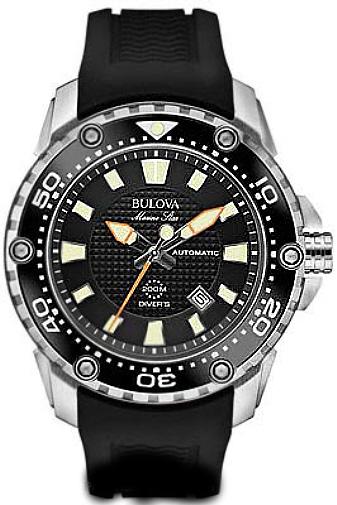 Men's Black Bulova Marine Star Automatic Diver's Watch 98B2