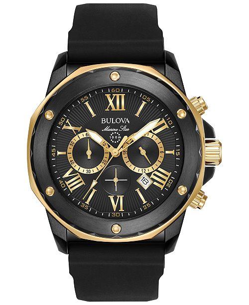 Bulova Men's Chronograph Marine Star Black Silicone Strap Watch .