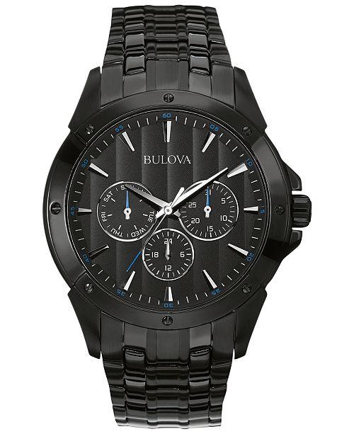 Bulova Men's Black Ion-Plated Stainless Steel Bracelet Watch 43mm .
